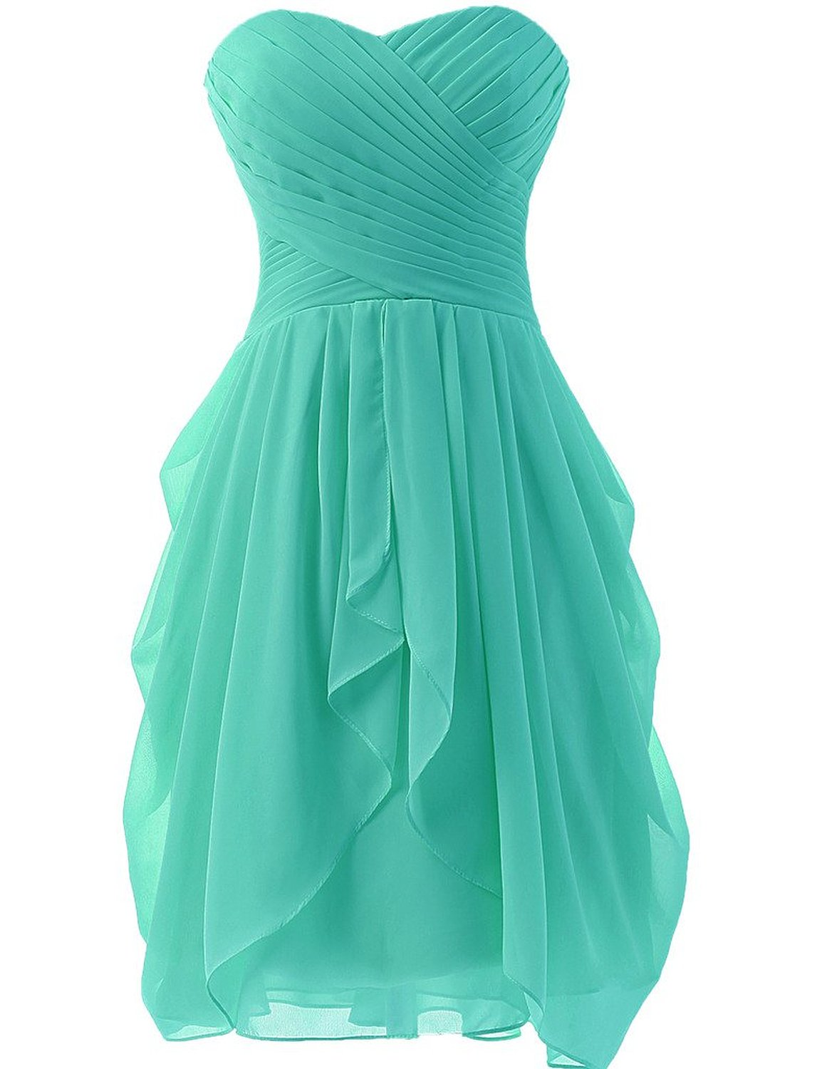 Hot Sale Womens Chiffon Ruched Bridesmaid Dress Short Prom Dresses ...