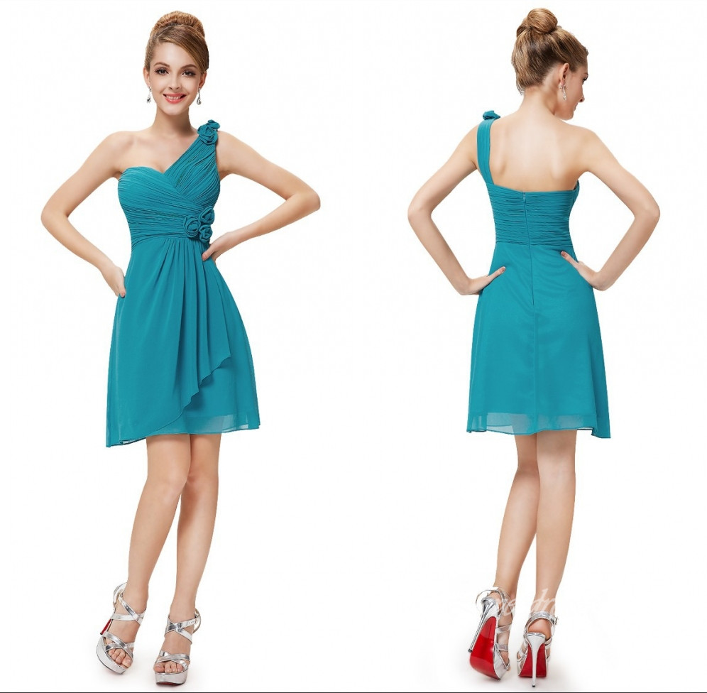 d8d014e1243 Hot Sale One Shoulder A-Line Mini/Short Bridesmaid Dresses Chiffon Grasp  fold Hand